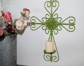 Large, Upcycled, Hand Painted, Wrought Iron, Cross Design, Shabby, Candle Sconce, Hand Painted in 'Spring Hill Green'