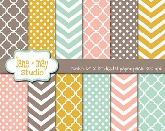 digital scrapbook papers - coral pink, mint green, mustard yellow and brown polka dots, chevron and quatrefoil - INSTANT DOWNLOAD