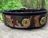 Camo Leather Dog Collar with Shotgun Shells, Camouflage Dog Collar, Hunting Dog Collar, Bird Dog Collar