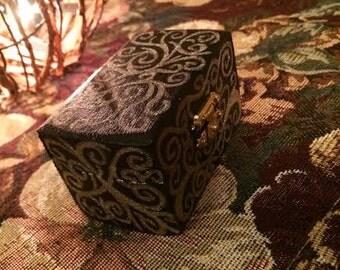 Small Black Wooden Jewelry Box