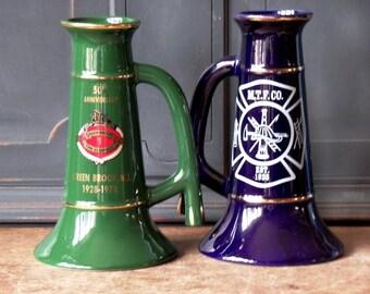 Vintage Porcelain Mugs Steins, Blue, Green, Fireman, Gold Trim, Anniversary, New Jersey