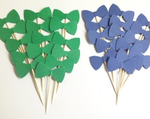 24 pieces Mixed Green & Navy Blue Bowtie, double sided, Cupcake Toppers, Food Picks