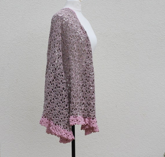 Crochet Lace Wedding Shawl Pattern : Crocheted Bridal lace shawl with pink crochet lace by ...