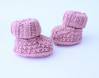 knitted baby girl booties - pink knit shoes - baby shoes