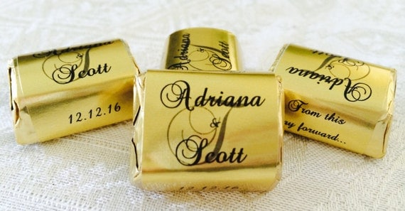210 GOLD FOIL Personalized Monogram Wedding Candy wrappers/stickers/labels that fit your Hershey Nuggets for any party/event! GREAT Favors