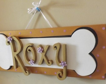 Pet Name Sign Dog Cat Wooden Personalized Wall Hanging