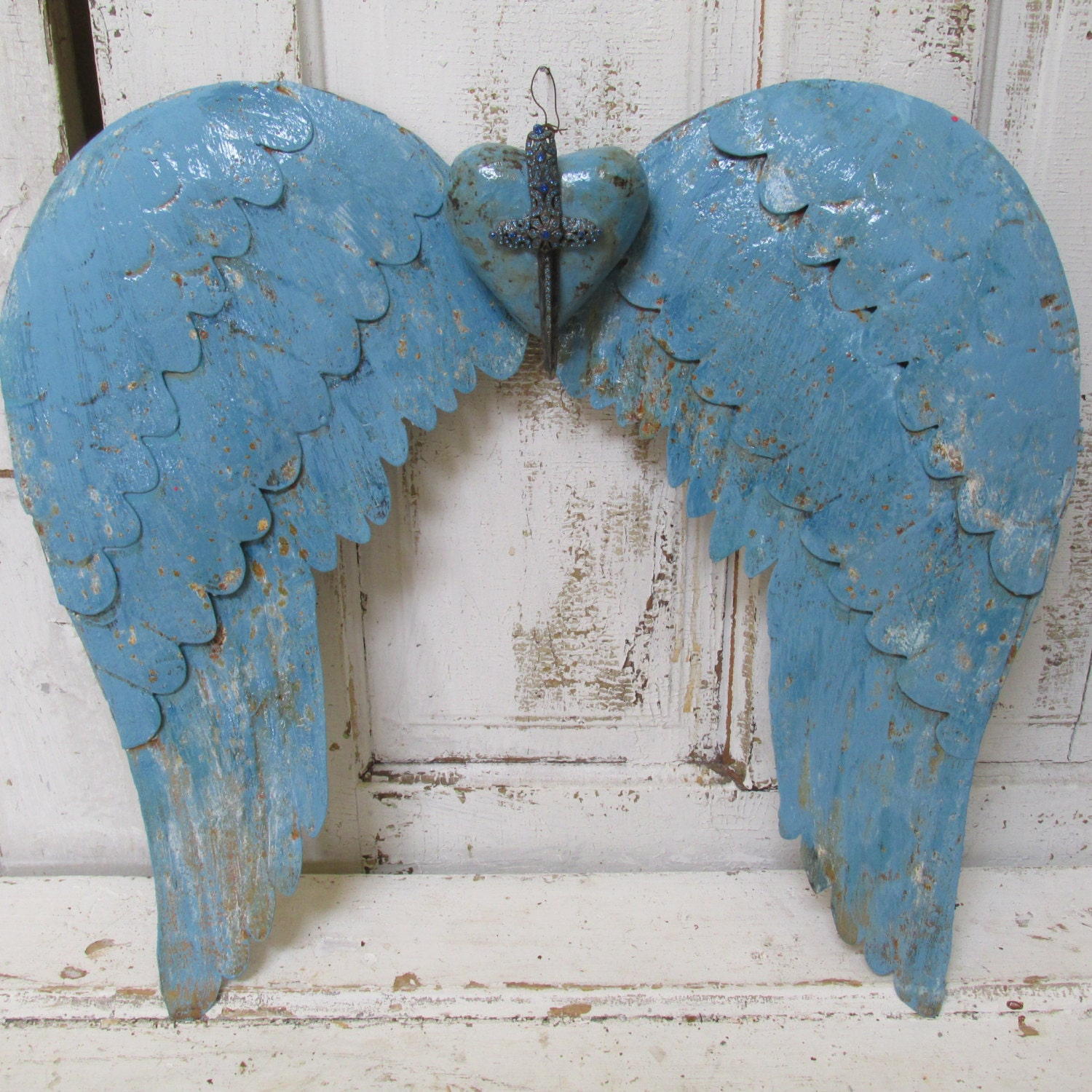 Rusty Angel Wings Wall Decor W/ Heart Hand Painted Ocean Blue
