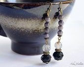 Long minimalist earrings black grey earring dangle stone beads earrings quartz cats eye simple jewlery