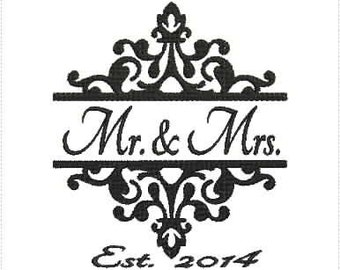 Mr. and Mrs. Wedding 2014 Machine Embroidery Design 5x7 & 6x10 Hoop Bernina Viking Pfaff Babylock Janome Elna and More