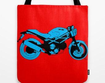 Tote bag | Ducati Monster, Original handmade drawing, red and blue