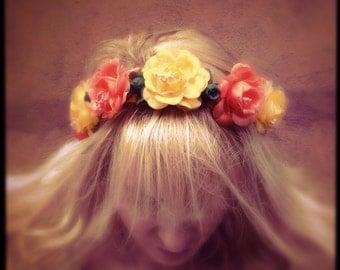 Flower wedding crown headband bridal headpiece in orange yellow with veil