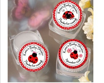 Lip Balm Baby Shower Favor - personalized-Ladybug theme Baby girl shower favor -  set of 12 favors with personalized label