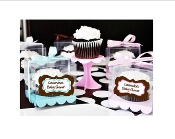 Cupcake Favor Boxes - personalized boxes with ribbon and cupcake insert - set of 12 - choice of design