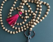 Long beaded necklace with Tassel & Goddess pendant - Boho/ Shabby Chic necklace