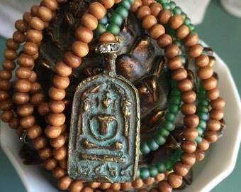Long beaded necklace with Tassel & Buddha  - Boho/ Shabby Chic necklace