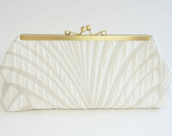 Ivory Bridal Clutch - 1920's Gatsby Art Deco - Wedding Purse - Ivory Evening Bag - Includes Chain - Free U.S. shipping!