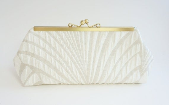 Art Deco Clutch - 1920's Gatsby Style - Ivory Wedding Purse - Ivory Evening Bag - Crossbody/Shoulder chain included
