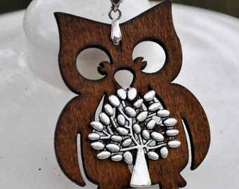 Wood Craved  Owl With living tree pendent necklace