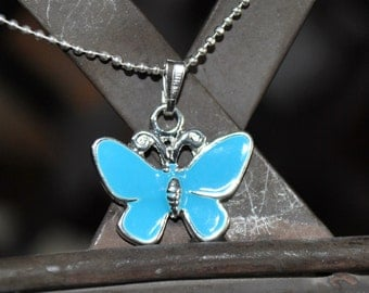 Beautiful Enamel Blue Butterfly Pendent Necklace
