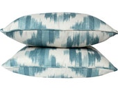 Designer Pillows (2) in Lee Jofa Ikat De Lin Blue on Both Sides, Self Piped
