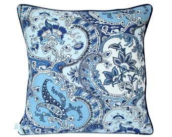 Blue Schumacher Pickfair Paisley Pillow Cover with Navy Blue Piping