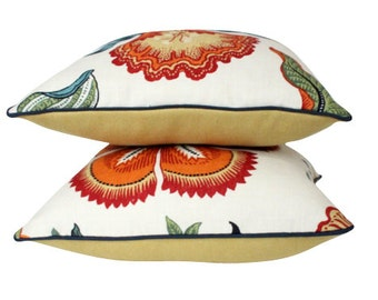 Two Hothouse Flower Pillows with Navy Blue Piping and Gold Maize Backing- F Schumacher fabric