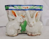 Vintage Easter Planter Easter Bunnies & Basket Made in Japan Lusterware Lustreware
