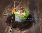 Newborn photo Prop, Baby Boy Hat, Hat and 2 Fish, Baby Crochet Set,  Crochet Baby Hat, Crochet Fisherman Set, Fisherman Set