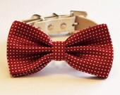 Red Dog Bow tie, Cute Dog Bowtie with high quality leather collar, Dog Wedding accessories, Pet Birthday Accessory, Red Lovers