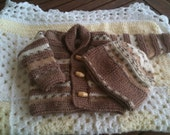 Jacket/Cardigan with hat, roll neck, toggles, 0-3months, caramel brown and brown & white multi blend stripes.