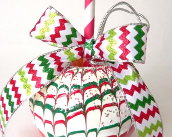 Fake Chocolate Covered Candy Apple Christmas Table Centerpiece  Decoration Ornament