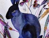 Rabbit Watercolor Animal Watercolor Rabbit Wall Art Rabbit Fine Art Hare Botanical Plants Rabbit Home Decor Blue Purple Rabbit Animal Art
