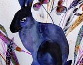 Rabbit Watercolor Animal Watercolor Rabbit Wall Art Rabbit Fine Art Hare Botanical Plants Rabbit Home Decor Blue Purple Rabbit Animal Art