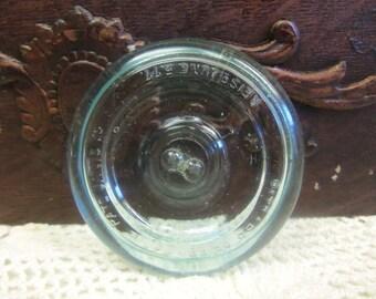 1 Antique Aqua Blue Lightning Canning Jar Lid B997
