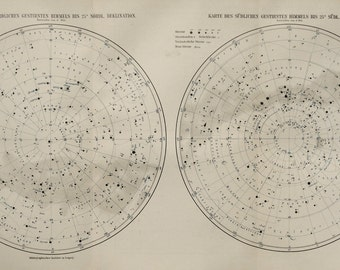 1897 Antique map of CONSTELLATIONS, STARS, Milky Way. 119 years old celestial print.