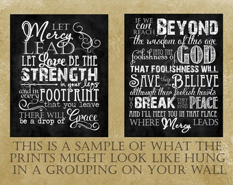 Scripture Art - Song: Let Mercy Lead - Chalkboard Style