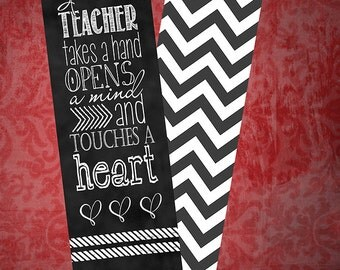 "Set of 5 bookmarks 2""x7"" ~ Teacher Touch a Heart"