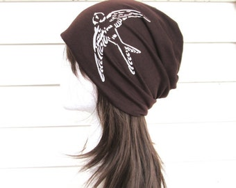 Gifts For Her, Gifts For Women, Beanie Hat, Slouch Hat, Women's Beanie, Fashion Beanie, Summer Hat, Brown Beanie.