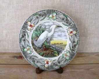 AUDUBON Collector's Plate | Snowy Egret | The Birds of America Plate | Transferware Plate | Decorative Plate | Antique Plate | Porcelain