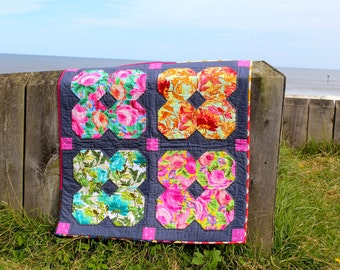 Floral Patchwork Quilt, Grey Pink and Blue Flower Pattern, Lap Quilt Baby Blanket