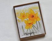 Stationery notecard set, daffodil watercolor reprint cards, set of 10