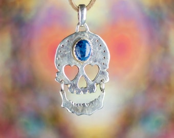 Day of the Dead Laughing Skull Pendant with Denim Lapis. Rock n Roll Jewelry.