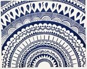 linocut - SUN - 8x10 / printmaking / block print / dark blue / geometric art / sun, star