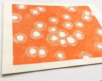 linocut - DUST DANCE - 8x10 / printmaking / block print / minimalist / orange