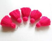 Spring Tulips Mini Jewelry Making Tassels Pink Tiny Cotton Tassels Pink Small Tassels for Bracelets Pink Short Tassels Fat Tassels  Sno76