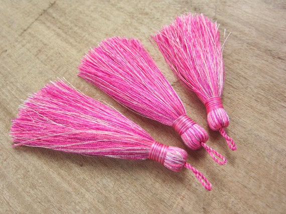 Pink Confetti Long Silk Tassels Pink Jewelry Making
