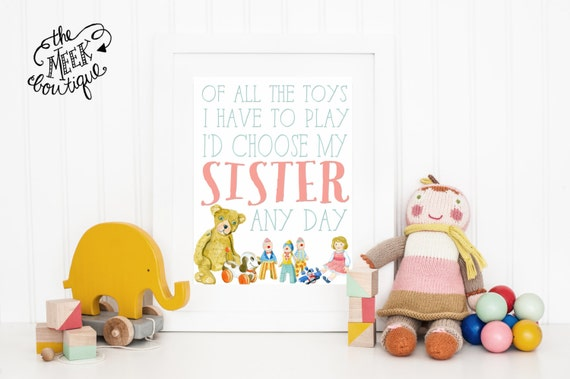 INSTANT DOWNLOAD, Brother/Sister Wall Art Printable, Children's Room, Play Room, Nursery, No. 9