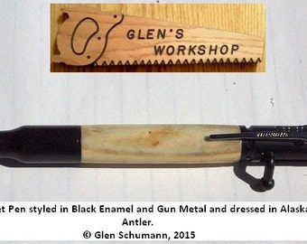 Bolt Action Bullet Pen Black Enamel Gun Metal Caribou Antler Pen