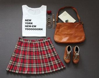 L - French Vintage raspberry, beige, tartan kilt skirt - Shortened