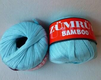 Yarn Sale  Blue Zumrut Bamboo Ribbon by Feza
